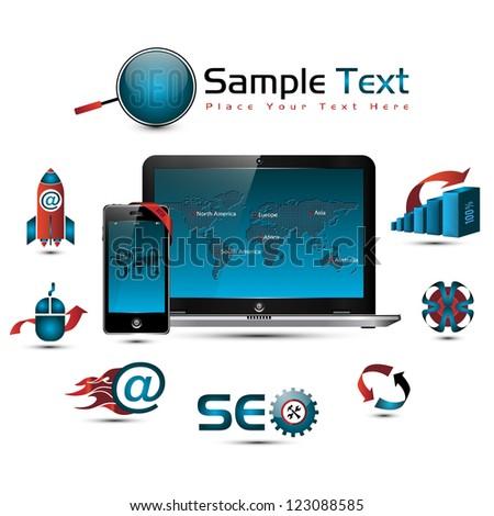SEO collection: symbols, world map, laptop & smart phone illustration - stock photo