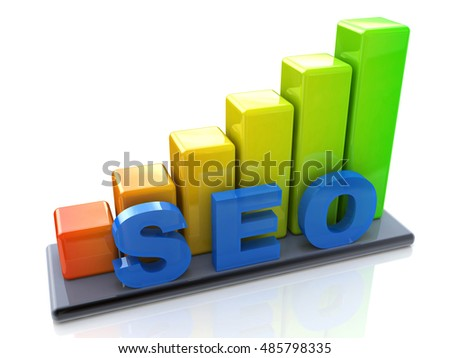 SEO concept and colorful graph in the design of the information related to the Internet and promotion. 3d illustration