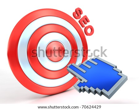 SEO concept. Hand cursor and red target. - stock photo