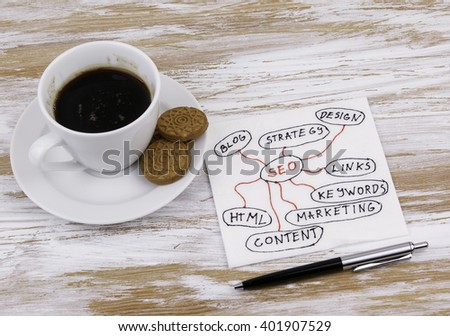 SEO concept. Handwriting on a napkin with a cup of coffee - stock photo