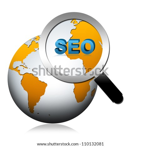 SEO Concept Present By The Globe With Magnify Glass and SEO Word Isolated on White Background - stock photo