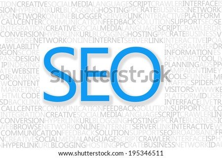 SEO Concept text with popular words from search engine optimization language - stock photo