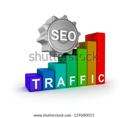 SEO concept with colorful graph. - stock photo