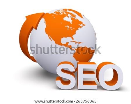 SEO. 3D. Seo and earth - stock photo
