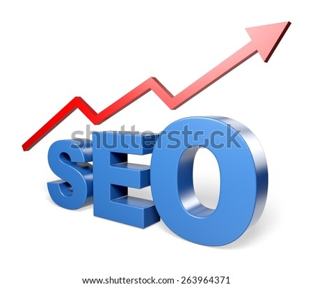 SEO. 3D. SEO - Search Engine Optimization increases the traffic - stock photo