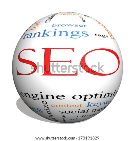 SEO 3D sphere Word Cloud Concept with great terms such as search, engine, optimization and more. - stock photo