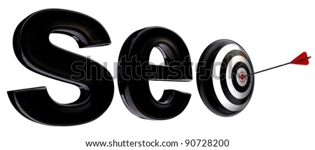 seo 3d word and target with arrow isolated on white background