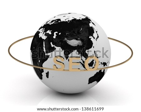 SEO gold letters on a gold ring around the earth - stock photo