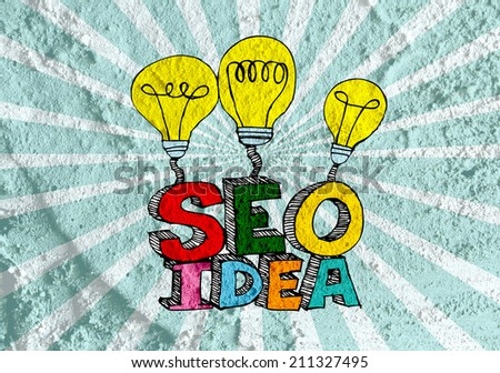 Seo Idea SEO Search Engine Optimization on Cement wall texture background design - stock photo