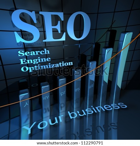 SEO in blue - stock photo