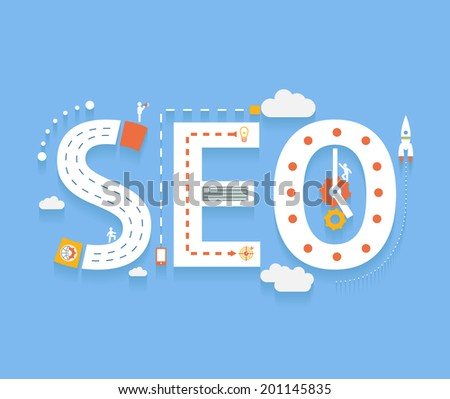 SEO in flat style, success internet searching optimization process illustration concept - stock photo
