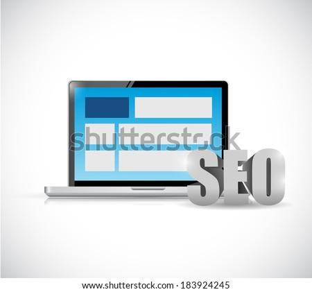 seo laptop computer web. internet concept illustration design over a white background - stock photo