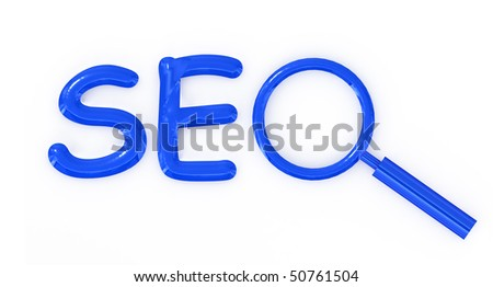 SEO letter sign with magnifier isolated on white background - stock photo