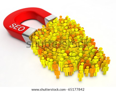 SEO magnet. Magnet with title SEO attracts people. - stock photo