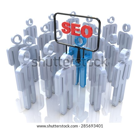 SEO man in the crowd of people  - stock photo