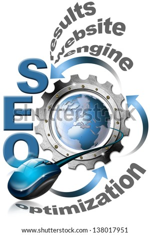 SEO Metal Gear / Illustration with metal written SEO, metal gear, mouse and blue globe  - stock photo