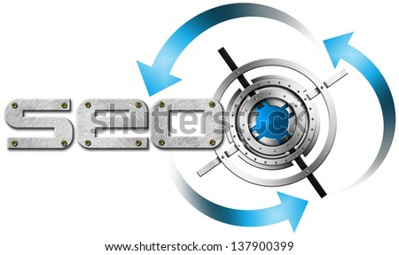 SEO Metal Target / Illustration with metal written SEO, metal target and blue arrows - stock photo