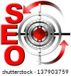 SEO Metal Target / Illustration with red written SEO, metal target and red arrows  - stock photo