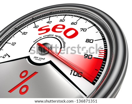 seo meter hundred per cent isolated on white background
