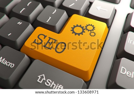 Seo, Orange Button on Computer Keyboard. Internet Concept. - stock photo