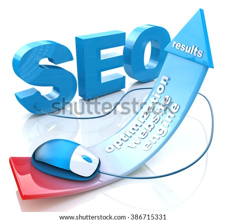 SEO positive red arrow in the design of the information related to the Internet and web sites