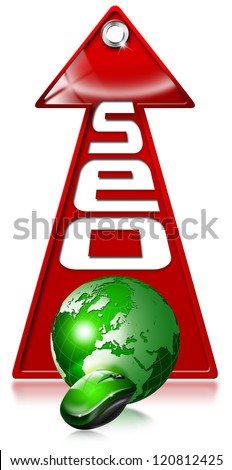 SEO positive red arrow / Written SEO with red arrow and globe, mouse and written: optimization, results, website, engine - stock photo
