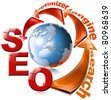 SEO red arrow - Search Engine Optimization Web - stock photo