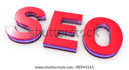 seo red letters on white background - stock photo