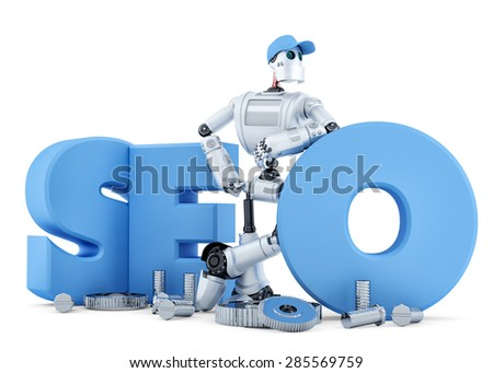 SEO Robot. Technology concept. Isolated over white. Contains clipping path - stock photo