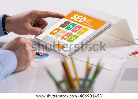 SEO screen on the tablet pc - stock photo