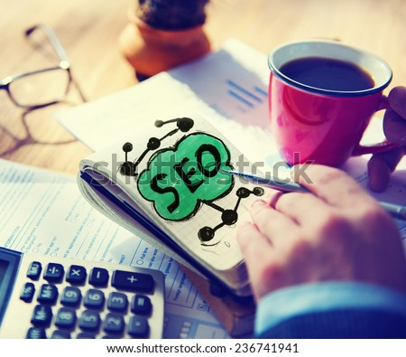 SEO Search Engine Optimization Business Internet Online Concept - stock photo