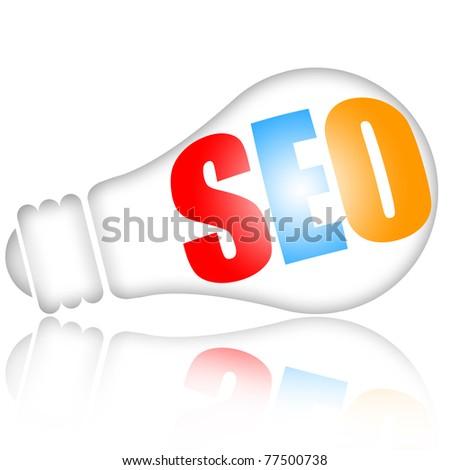 SEO (search engine optimization) concept as bright shining electric lamp isolated over white background - stock photo