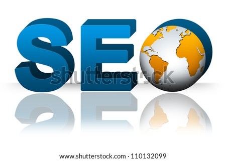 SEO( Search Engine Optimization ) Concept, 3D SEO Text With Earth Isolated on White Background - stock photo