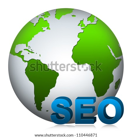 SEO( Search Engine Optimization ) Concept Present by The Globe With 3D SEO Text Isolated on White Background - stock photo