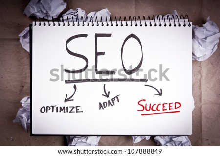 SEO - search engine optimization - flow chart concept for adaption and success for blogging and internet websites - stock photo