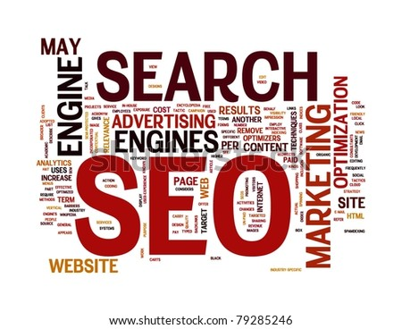 SEO - search engine optimization in word cloud - stock photo