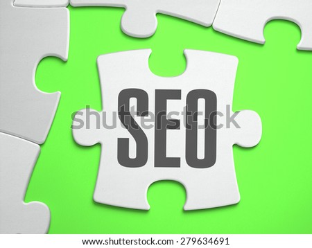 SEO - Search Engine Optimization - Jigsaw Puzzle with Missing Pieces. Bright Green Background. Close-up. 3d Illustration. - stock photo