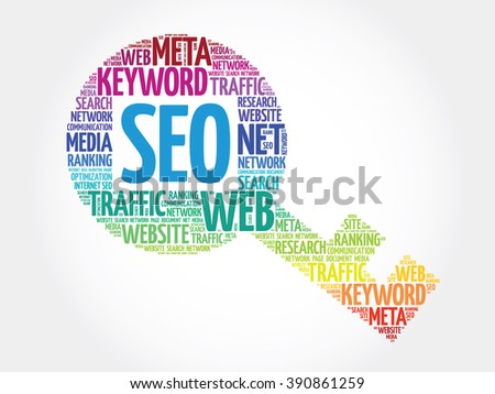 SEO - Search Engine Optimization Key word cloud, business concept - stock photo