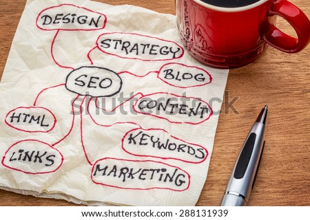 SEO - search engine optimization mindmap on napkin with cup of coffee - stock photo