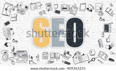 SEO - Search Engine Optimization - Multicolor Concept with Doodle Icons Around on White Brick Wall Background. Modern Illustration with Elements of Doodle Design Style. - stock photo
