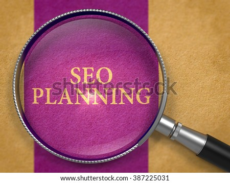 SEO - Search Engine Optimization - Planning through Magnifying Glass on Old Paper with Dark Lilac Vertical Line Background. 3D Render. - stock photo