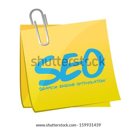 seo search engine optimization post illustration design over a white background - stock photo