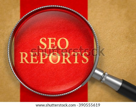 SEO - Search Engine Optimization - Reports through Loupe on Old Paper with Red Vertical Line Background. 3D Render. - stock photo