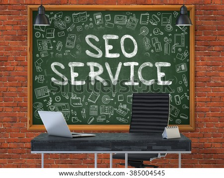 SEO - Search Engine Optimization - Service - Hand Drawn on Green Chalkboard in Modern Office Workplace. Illustration with Doodle Design Elements. 3D. - stock photo