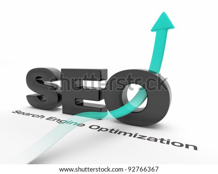 SEO - Search Engine Optimization - with an arrow pointing up. - stock photo