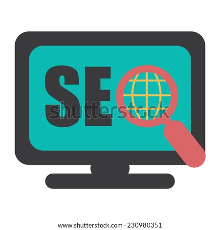 SEO, Search Engine Optimization With Magnifying Glass on Computer Screen Isolated on White Background - stock photo
