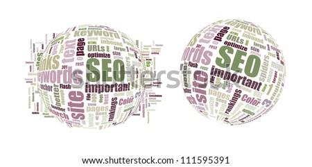 SEO Search Engine Optimization - Word Cloud - stock photo