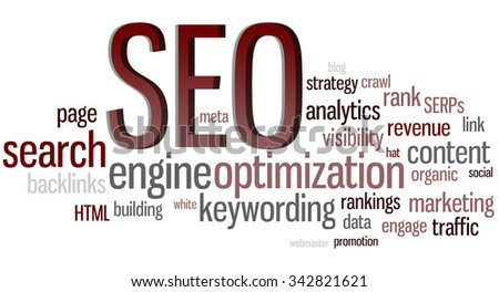 SEO - Search Engine Optimization Word Cloud - stock photo