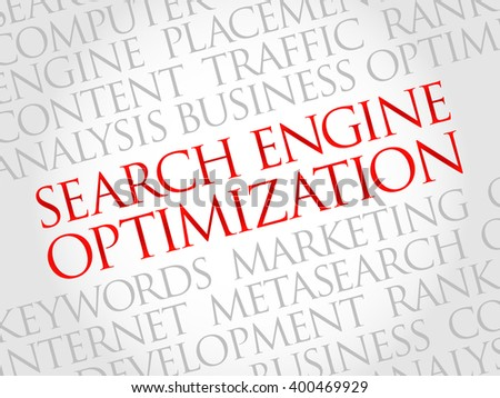 SEO - search engine optimization word cloud, business concept - stock photo