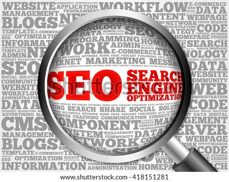 SEO (search engine optimization) word cloud with magnifying glass, business concept - stock photo
